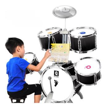 子供用ドラえもん朝教子供ジャラム初心者の赤ちゃん3-6歳音楽玩具の音楽プレーヤー【3-6歳】5ドラム1镲黒加厚耐ノック+ビッグギフトバッグ