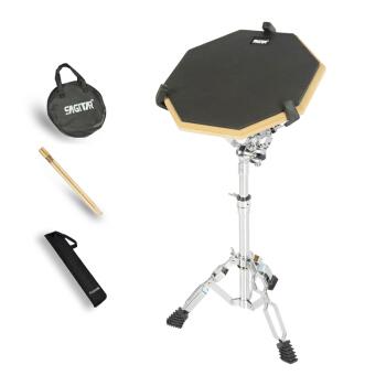 Sagitar早鼓セット12寸ダミードラムパッドドラムド練習ドラム初心者打撃板亜鼓練習パッド静音パッド12寸黒ダミードラム+ドラムセット+ドラムスティック+ダミードラム袋+ドラムバッグ+ドラムバッグ