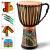 hluruインドネシア原産のアフリカドラマー子供麗江手作り丸太彫刻は、空の初心者の大人が演奏します。アフリカ鼓8寸10寸12寸の子供の原色の絵+バックバンド+タンバリン+電子教程